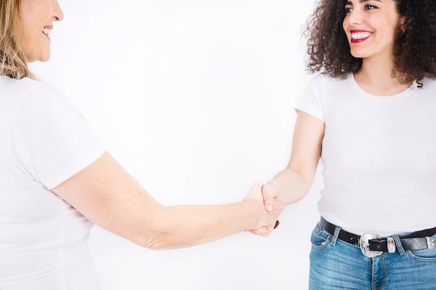 Cheerful women shaking hands