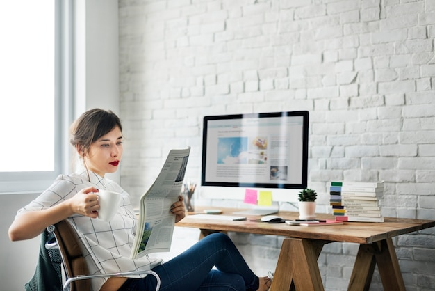 Cheerful working workplace relaxation casual concept