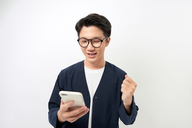 Cheerful young asian wearing eyeglasses