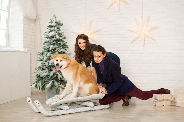 Cheerful young couple on a sled with a dog in christmas decorations