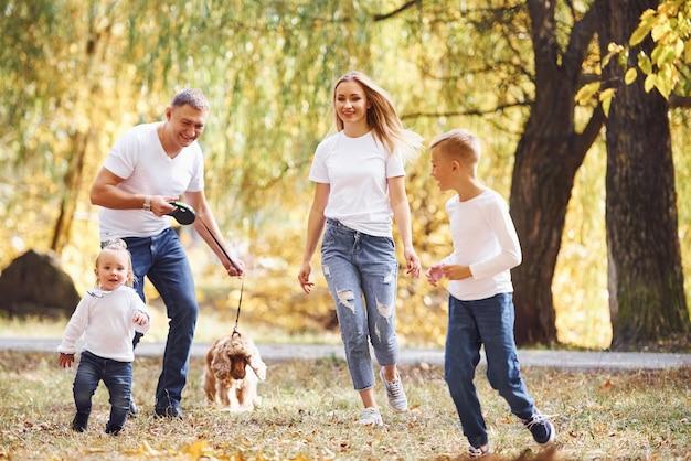 쾌활한 젊은 가족이 함께 가을 공원에서 산책을 합니다.