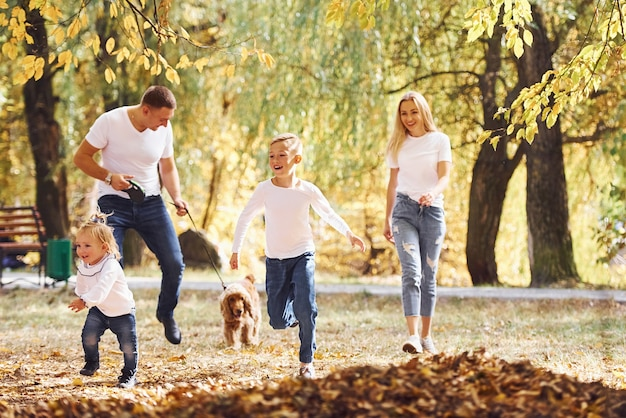 Cheerful young family have a walk in an autumn park together.
