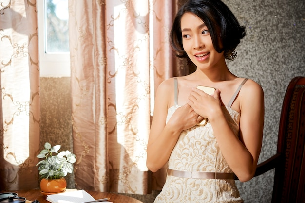 Cheerful yuong woman