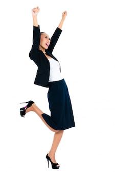 Cheering asian businesswoman