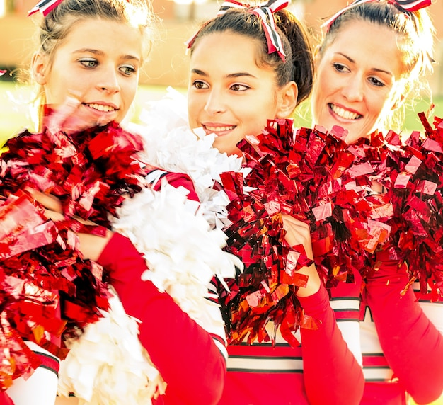 Cheerleaders at relax moment