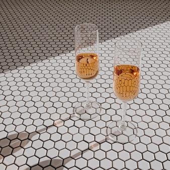 乾杯!モザイクタイルの日光の影にロゼシャンパンと2つのグラス