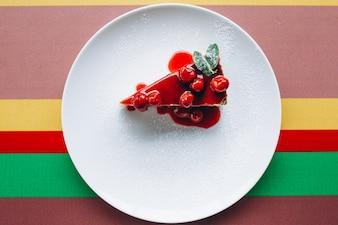 Cheescake slice on plate