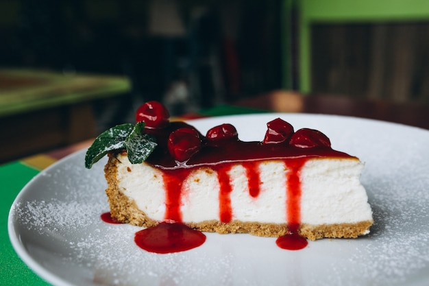 Cheescake slice on plate