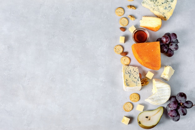 Cheese assortment on light background