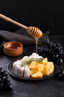Cheese assortment with honey