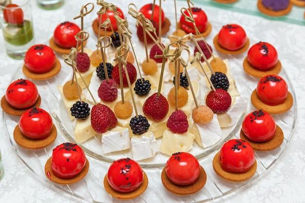 Cheese brie with blackberry and raspberry dessert.cheese bree dessert