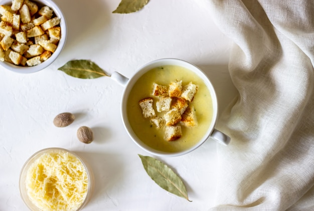 Cheese cream soup on white