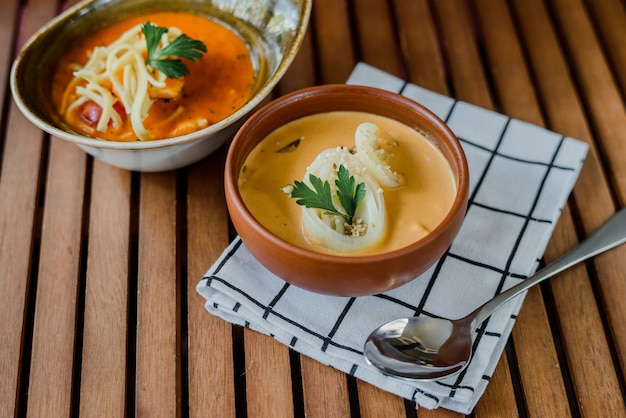 Cheese cream soup with vegetables