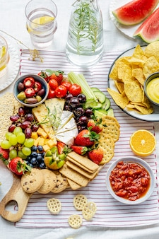 Cheese and fruit board summer picnic foods