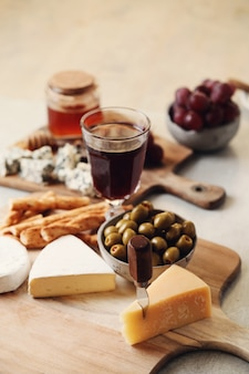 Cheese, grapes and honey