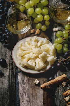 Cheese, grapes and wine