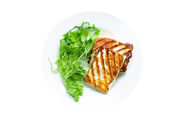 Cheese grilled halloumi fried barbecue meal snack copy space food background rustic top view