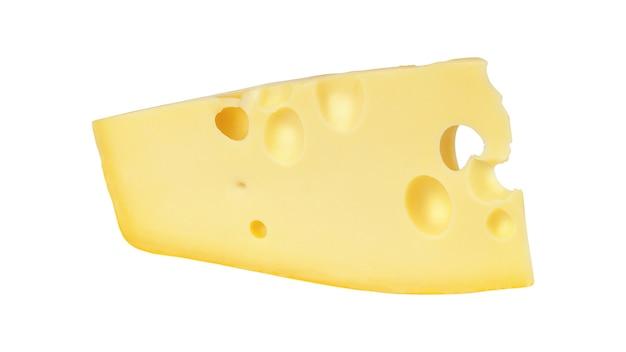 白い背景で隔離のチーズ。大きな穴のあるチーズ