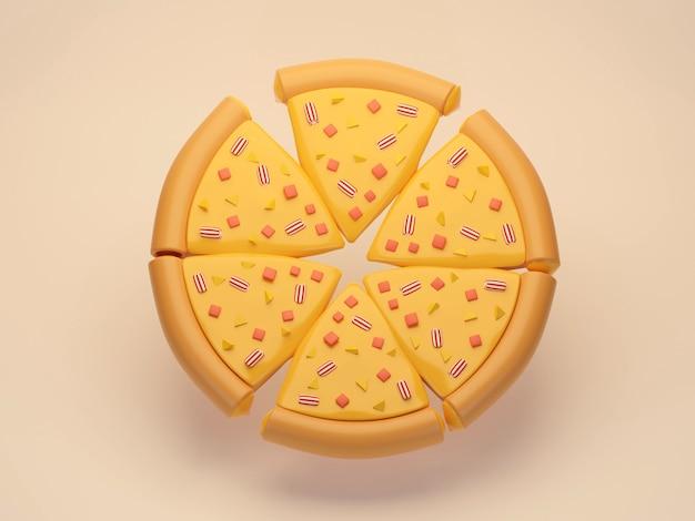 背景に均等にカットされたチーズピザ4つのチーズピザのフラットレイ3dレンダリング