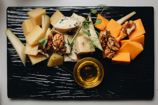 Cheese platter top view. food