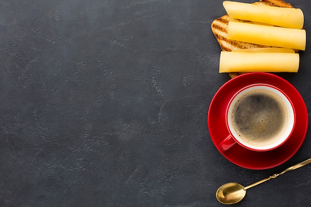 Cheese sandwich and coffee copy space