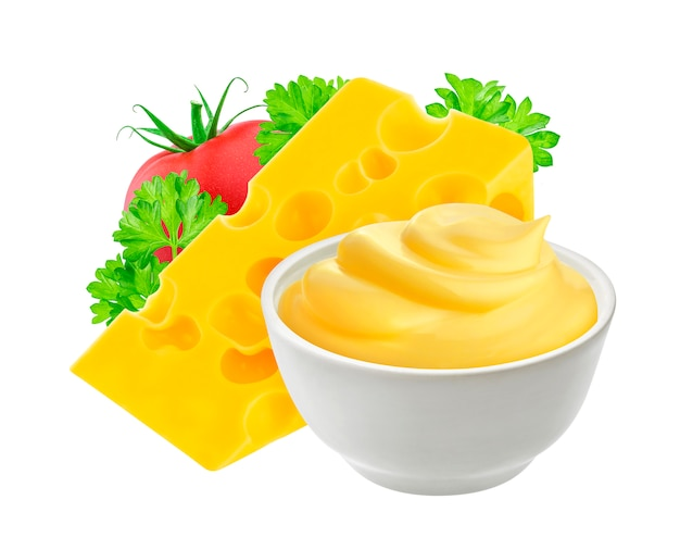 Cheese sauce isolated on white