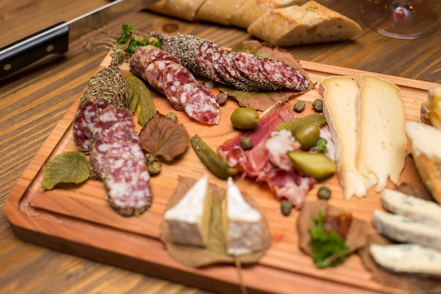 Cheese and sausages as an appetizer
