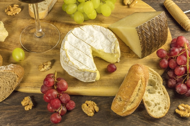 Cheese selection at a tasting