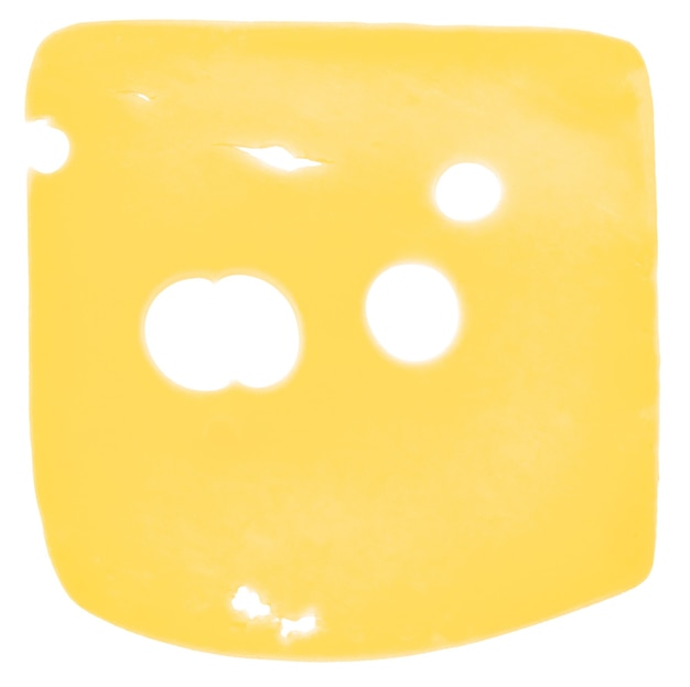 Cheese slice isolated on  white background, top view.