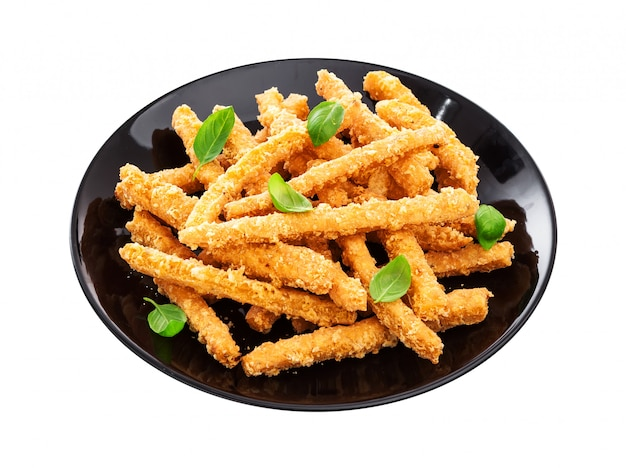 Cheese sticks isolated on white background with clipping path