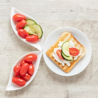 Cheese and vegetables toast