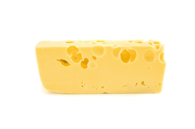 Cheese with holes isolated on a white background