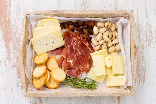 Cheese with meat and cookies
