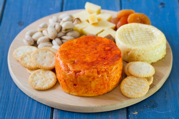 Cheese with nuts and cookies