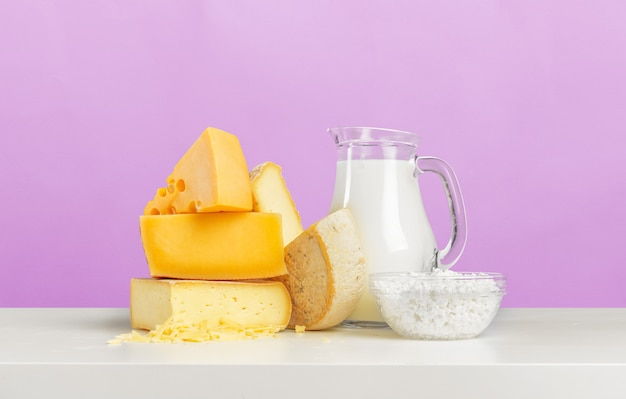 Cheese on wooden table