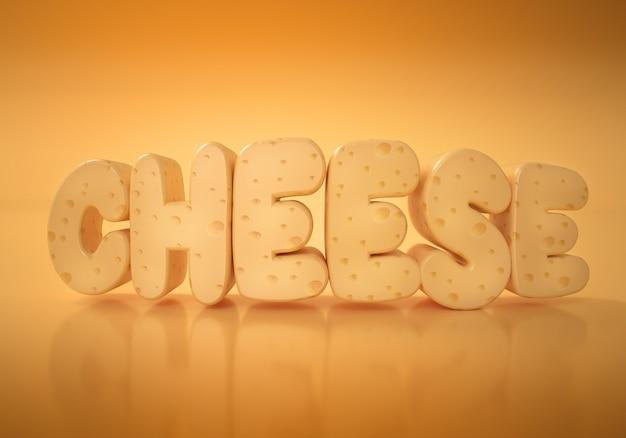 Слово сыр на записи на желтом фоне текстуры сыра. 3d иллюстрации