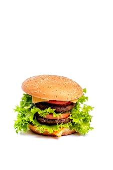Cheeseburger или hamberger на белой предпосылке. быстрое питание