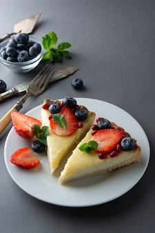 Cheesecake slices with fresh berries and mint for dessert. gray background.
