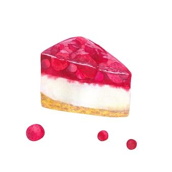 ゼリーとベリーのチーズケーキストロベリー。手描きの水彩イラスト。白い壁に隔離。