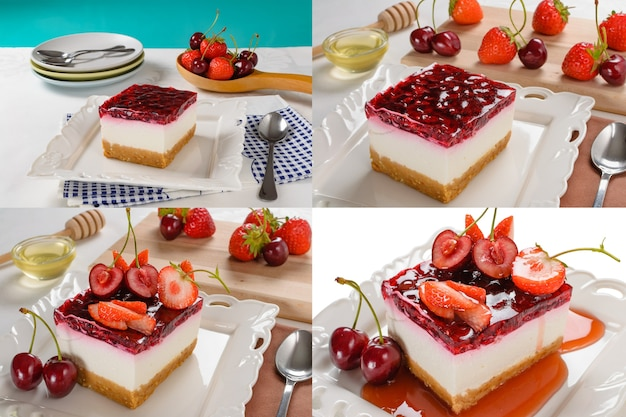 テーブルの上にベリー、新鮮なイチゴとチェリーのチーズケーキとチーズケーキ。セット写真のコラージュ。