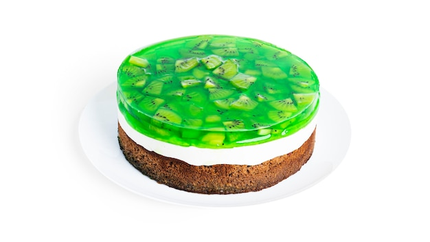 Cheesecake with kiwi isolated.