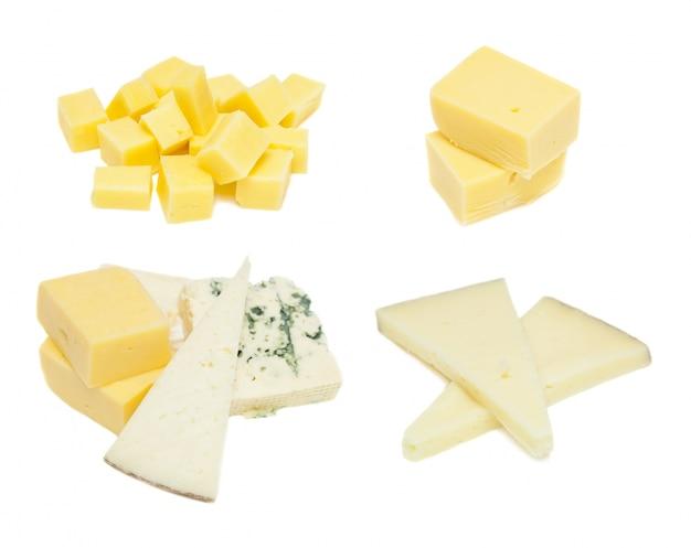白い背景に、異なるタイプのチーズ