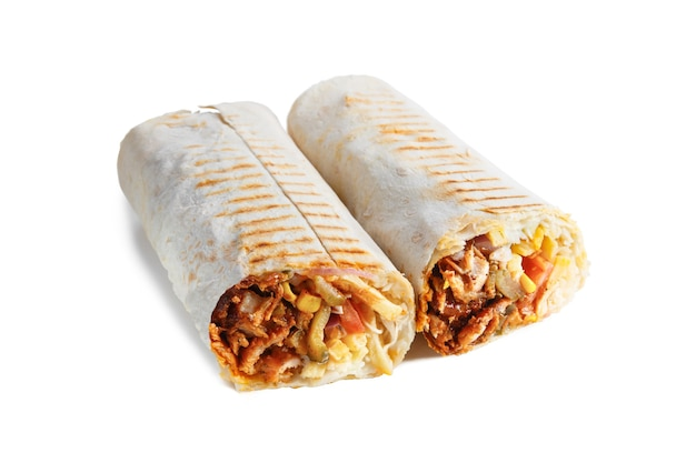 Cheesy shawarma with layers of chicken meat