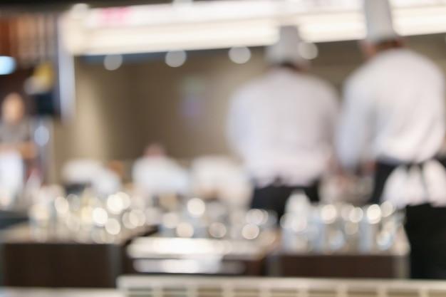Шеф-повар готовит в ресторане кухня абстрактный размытый расфокусированный фон