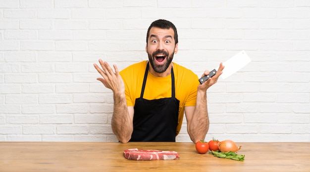 Chef in a cuisine making surprise gesture