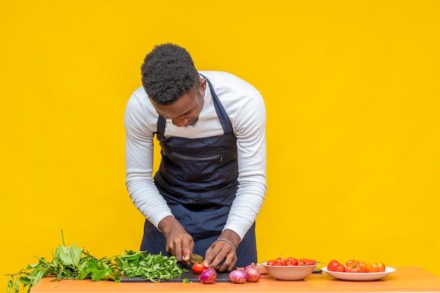 요리사가 식사를 준비하기 위해 토마토를 자르고 있다