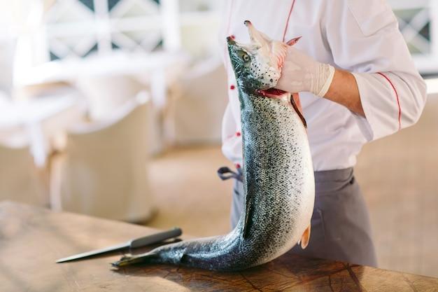 Chef keep the salmon.