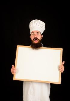 Шеф-повар меню человек повар шоу пустая доска меню с копией пространства пустая доска меню с копией пространства