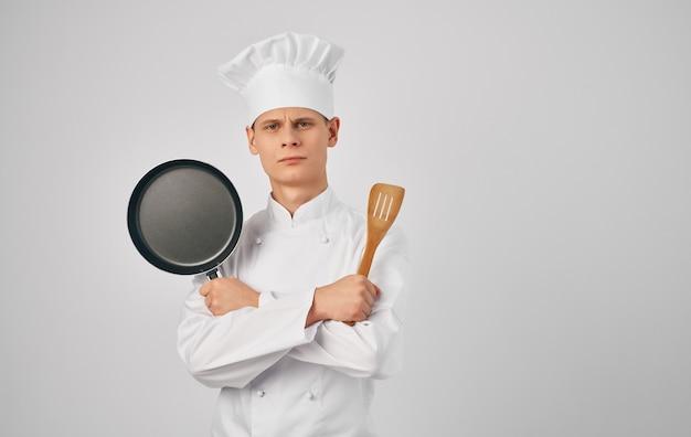 Chef professional kitchenware food preparation restaurant service.