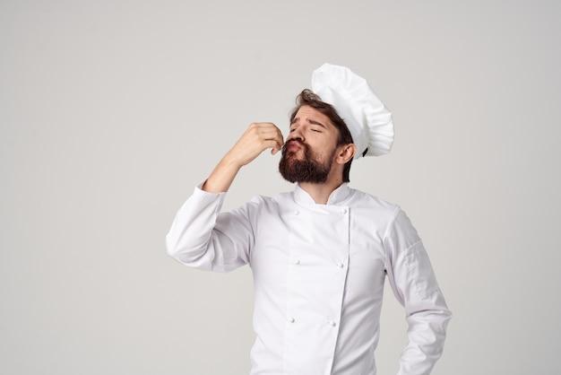 シェフレストランのサービス提供プロの感情。高品質の写真